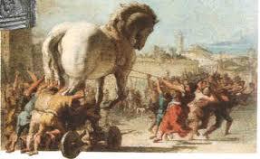Koń trojański ciągniony obraz