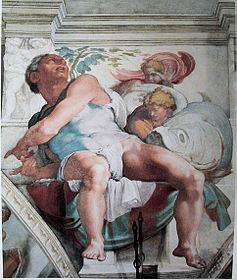 Prorok Jonasz, fresk Michała Anioła w Kaplicy Sykstyńskiej.