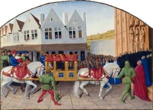 Entrée_de_l_empereur_Charles_IV_à_Saint-Denis by Jean Fouquet