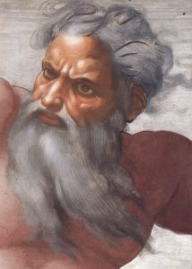 Creation_of_the_Sun_and_Moon_face_detail, by Michelangelo, Kaplica Sykstyńska