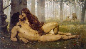 Pierwszy pocałunek Adama i Ewy, by Salvador Viniegra y Lasso de la Vega, 1891, public domain.